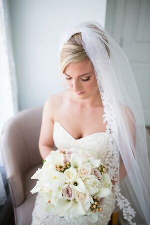 White Bridal Bouquet with Mauve Roses
