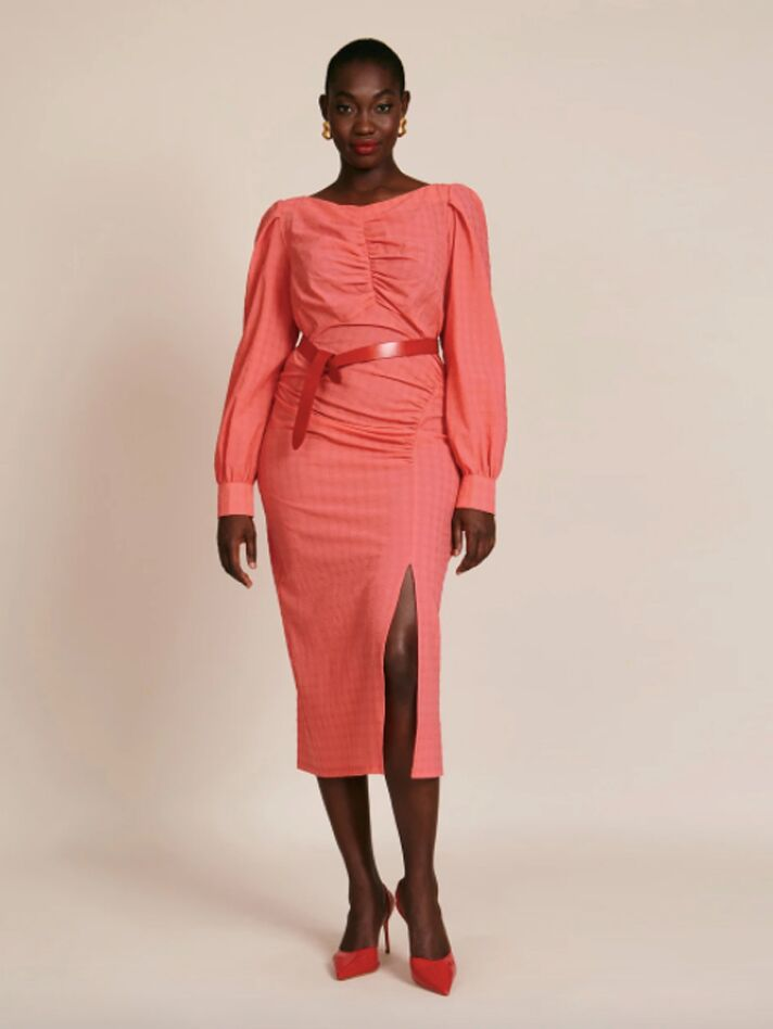 Coral fitted midi dress with long sleeves and belted waist