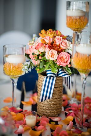 Bright Rose and Protea Centerpieces with Rope