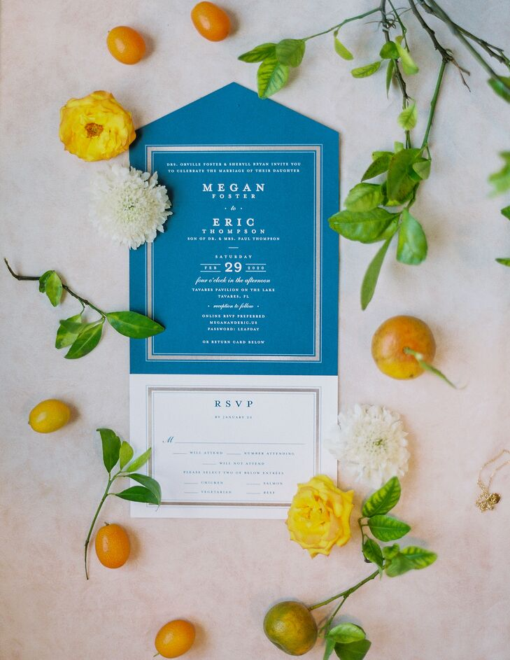 Blue-and-White Invitations for Wedding at Tavares Pavilion on the Lake in Florida