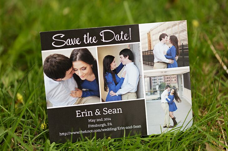 The save-the-dates, from VistaPrint, were magnets that featured Erin and Sean's engagement photos.
