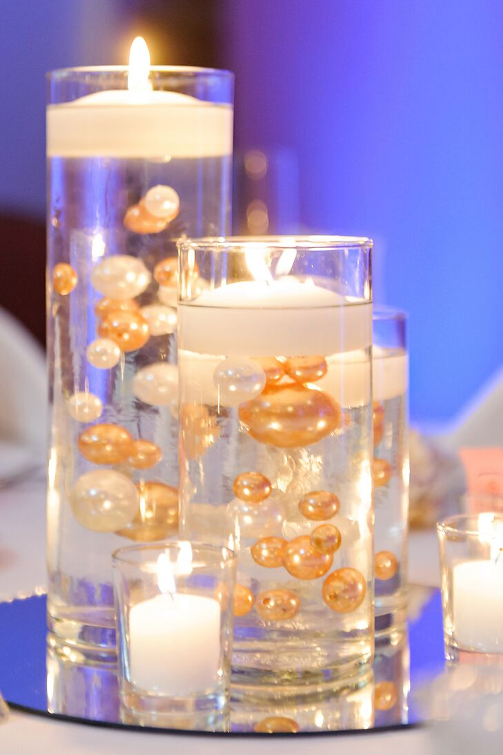 floating candle centerpieces with gold and white pearls rh theknot com diy centerpiece floating candles centerpiece floating candles flowers