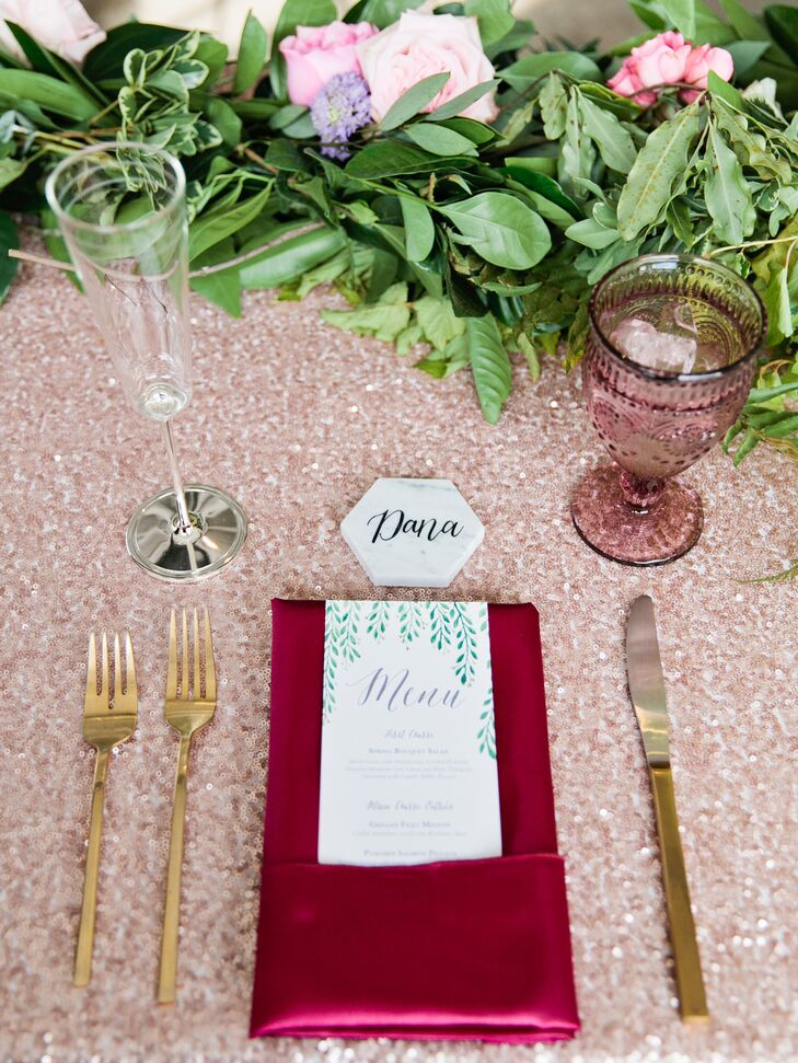 Glam Blush Sequin Table Linens