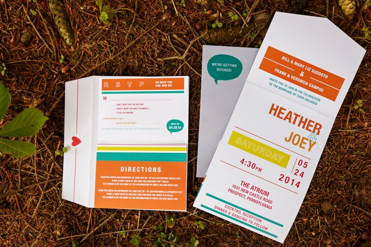 Heather and Joey's modern orange and turquoise wedding invitations with clean lines and sans serif font made a bold statement