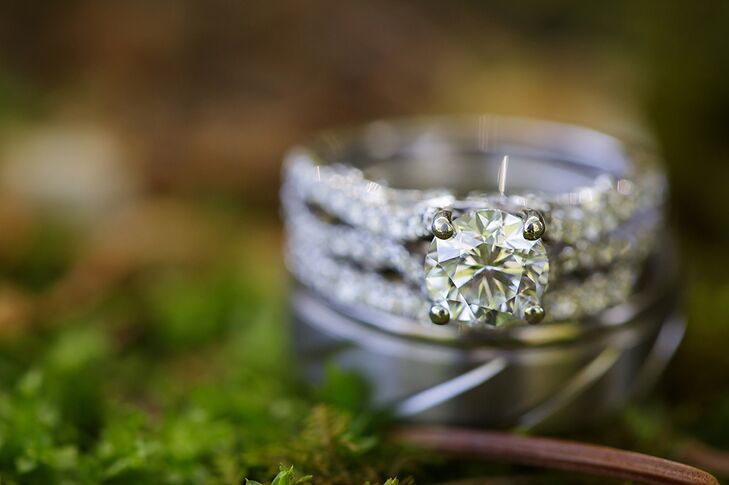 Custom Diamond Embellished White Gold Ring With a Solitaire Diamond
