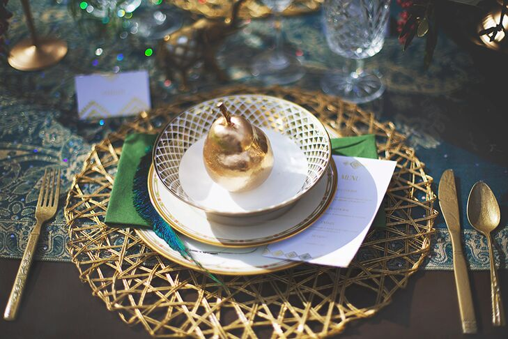 From the brass silverware to the gilded edge, mismatched dinnerware and woven placements, the each element of the place settings worked seamlessly together.