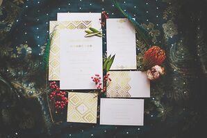 Gold Geometric Wedding Invitations