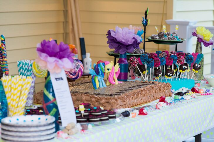 90s Themed Dessert Table And Wedding Cake