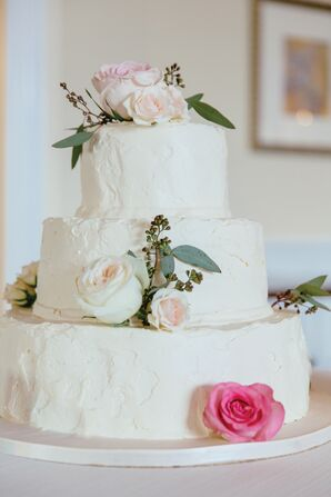 White Buttercream Wedding Cake with Roses