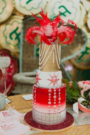 Modern Vegas-Inspired Red and Gold Wedding Cake with Fondant