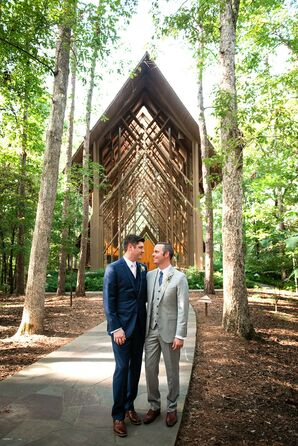 Same-Sex Couple Poses in Front of Anthony Chapel in Hot Springs, Arkansas