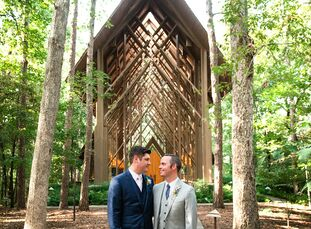 Daniel and Jacob tied the knot during an intimate ceremony in a picturesque wood chapel in Hot Springs, Arkansas. To brighten the couple's woodsy wedd