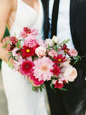 Shades of Pink Bouquet with Dahlias, Garden Roses and Cosmos