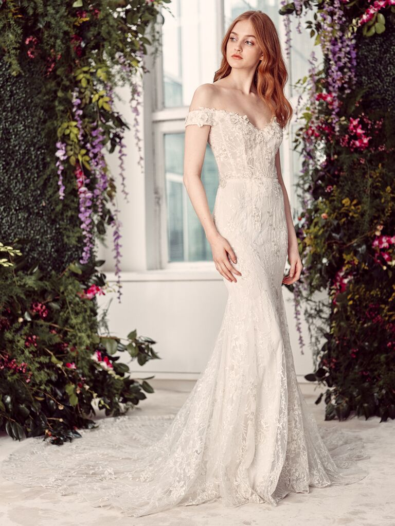 Alyne by Rita Vinieris Spring/Summer 2020 Bridal Collection off-the-shoulder fitted wedding dress
