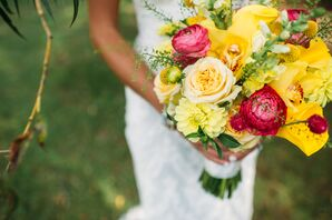 Yellow and Red Roses and Ranunculus Bridal Bouquet