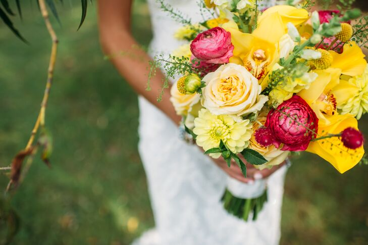 Wanting a bright, colorful bouquet, Lauren carried a hand-tied, natural bunch of yellow mini callas, yellow cymbidium orchids, green hydrangeas, hot pink and yellow roses, snapdragons, yellow craspedia and yellow ranunculus.