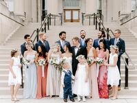 Bride and groom with bridesmaids, groomsmen and flower girl and ring bearer