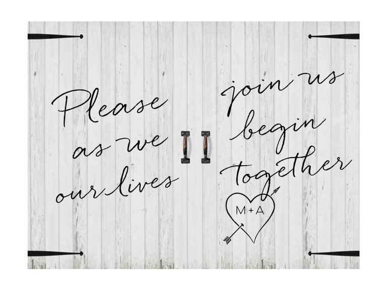 Barn rustic wedding invitation