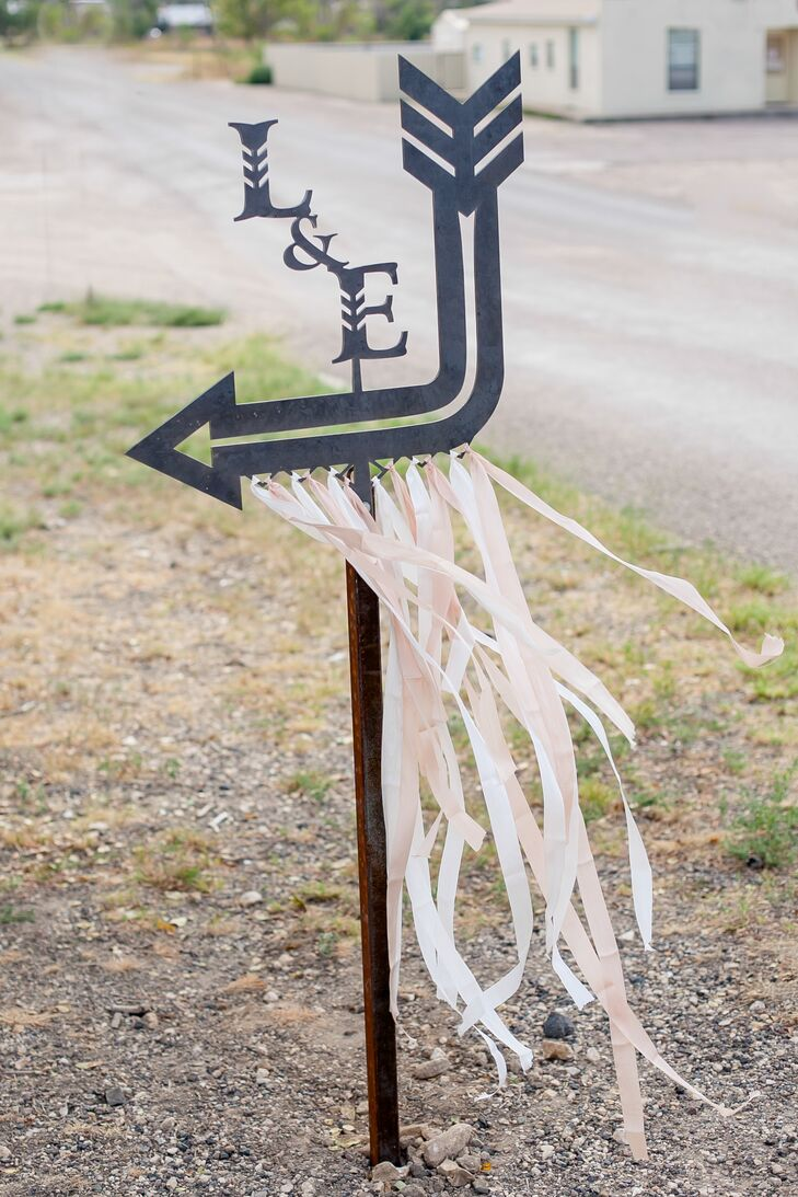 Ribbon-Trimmed Arrow Ceremony Sign