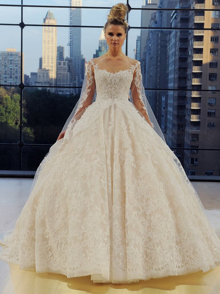 Ines Di Santo Fall 2018 Vanderbilt ball gown with detachable sleeves and veil streamers
