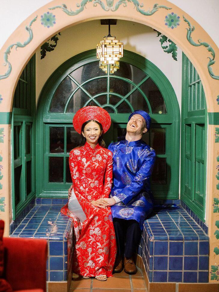Couple in Vietnamese Wedding Attire at Rancho Las Lomas in Silverado, California