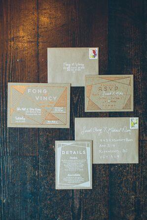 Metallic Geometric Wedding Invitation Suite