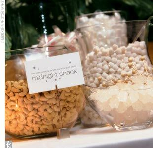 In the back of the room, Jill and Jim set up a midnight-snack table -- an all-white buffet of candy, cookies, and nuts where their 160 guests could fill up small bags of treats for later.