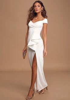 Lulus Mi Amor Ivory Off-the-Shoulder Maxi Dress Sheath Wedding Dress