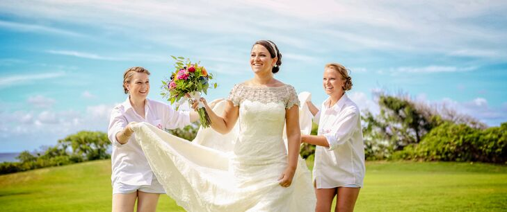 Bridesmaids Carry Train of Short-Sleeve Ivory Lace Dress with Illusion Neckline