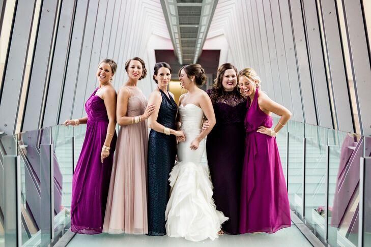 Bold, Mismatched Bridesmaid Dresses