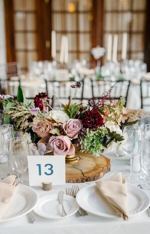 Bohemian Centerpiece of Dahlias, Astilbe and Roses on Rustic Wood Stand