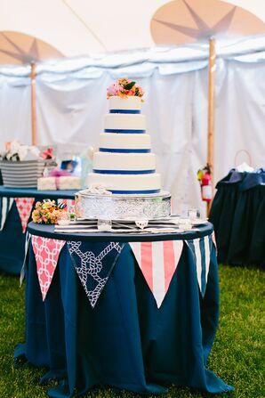 White Buttercream Wedding Cake with Blue Satin Ribbon