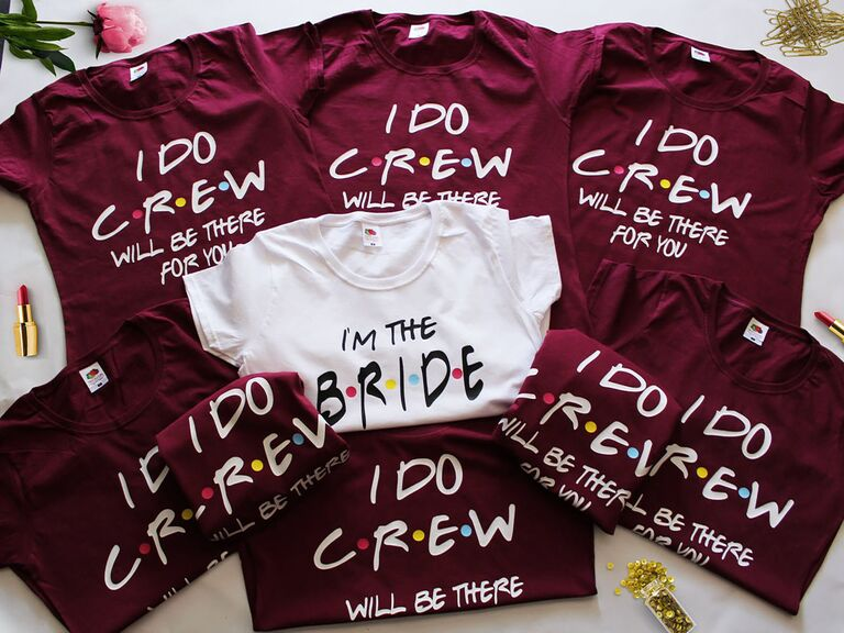 """""""bride"""" and """"I do crew"""" bachelorette party tee shirts"""