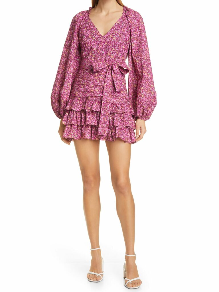 LoveShackFancy pink floral mini dress with puff sleeves and tie waist