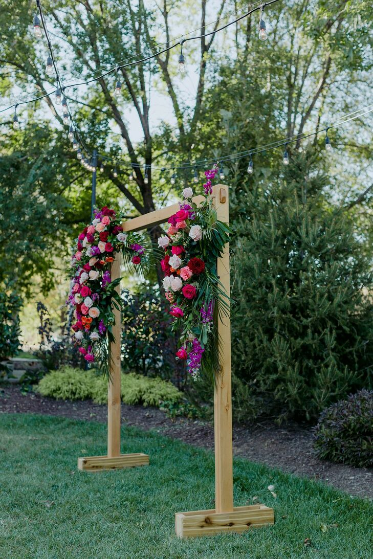 Colorful Flower Arch for Ceremony at Wild Carrot in St. Louis, Missouri