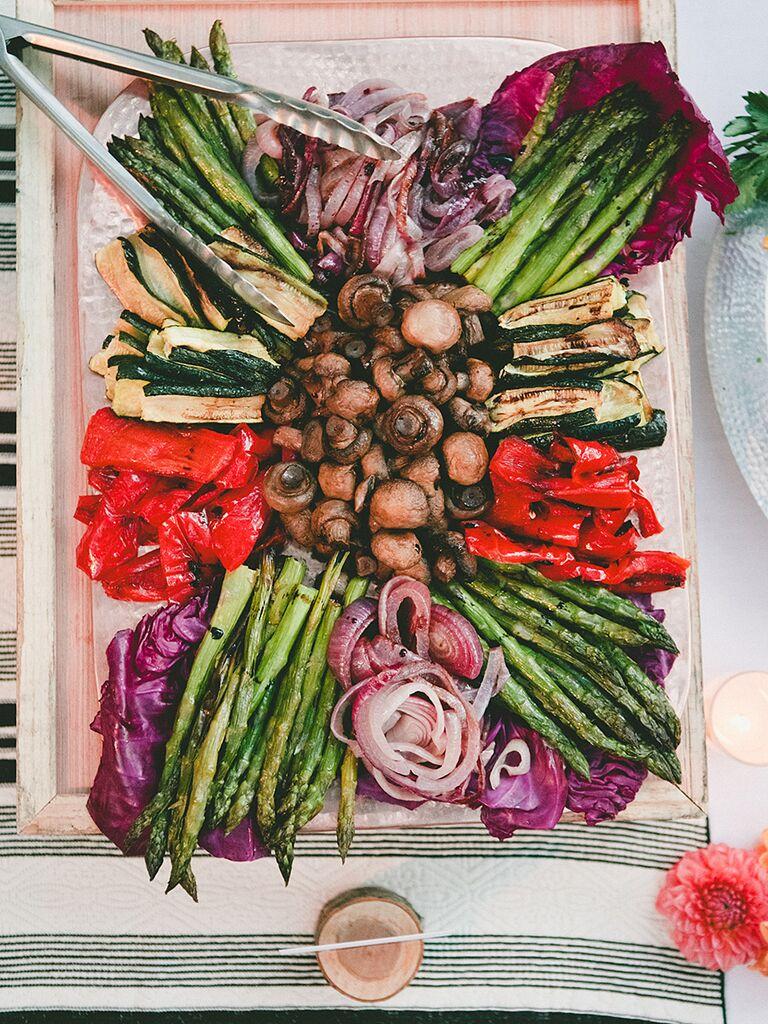 Fresh veggie platter for a reception appetizer idea