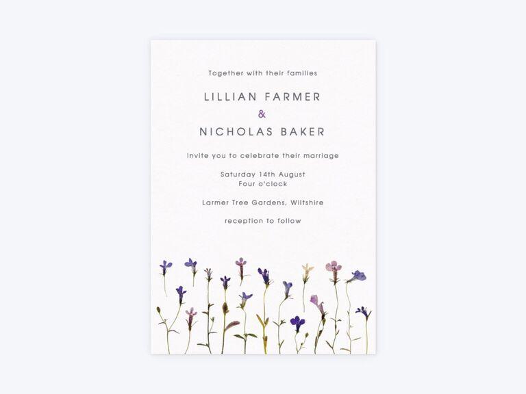 Flower stalks rustic wedding invite