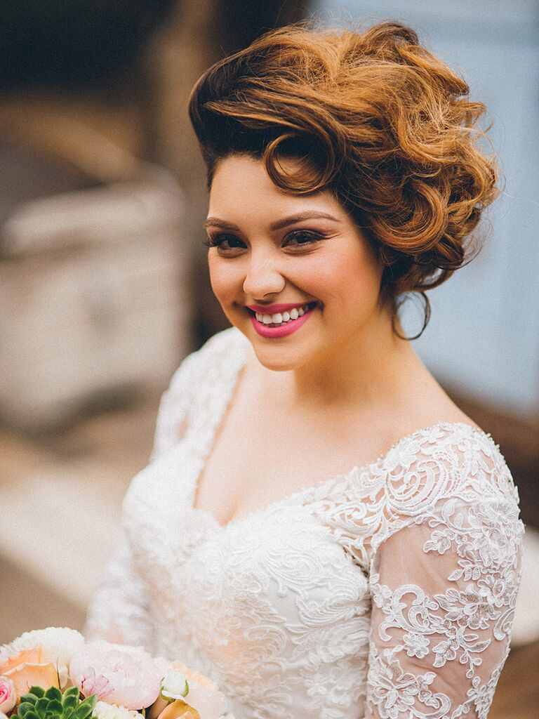Vintage wedding hairstyle updo with pin curls