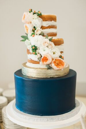 Hand-Painted Naked Cake with Cascading Garden Roses