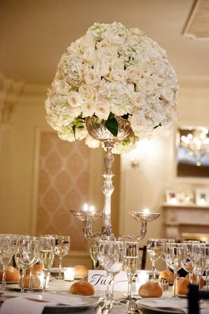 Silver Candelabra With Candles, Roses, Hydrangeas