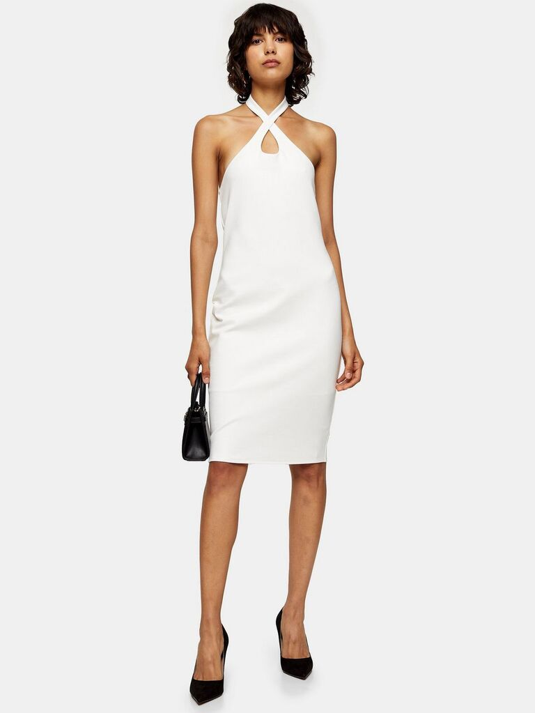 White halter engagement party dress