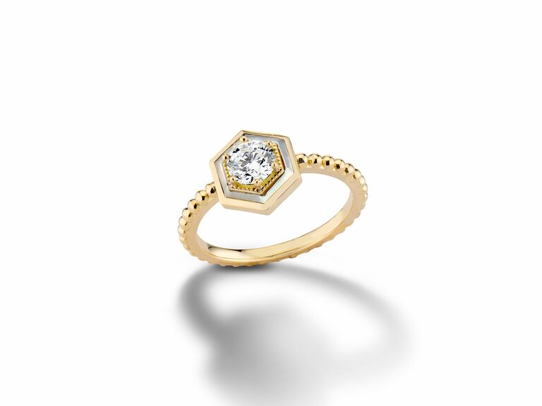 Prong-Set Diamond and Mother-of-Pearl Engagement Ring with hexagonal halo and beaded band