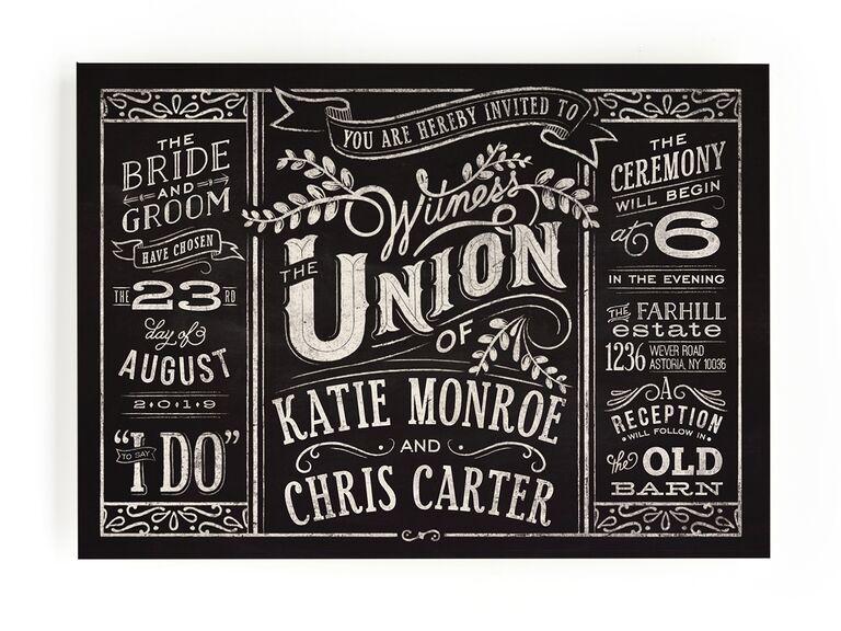 Chalkboard rustic wedding invitation