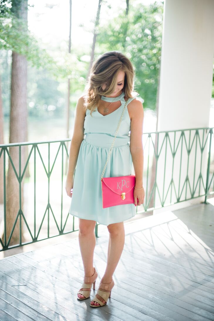 Aqua Bridesmaid Dress with Monogrammed Cluth