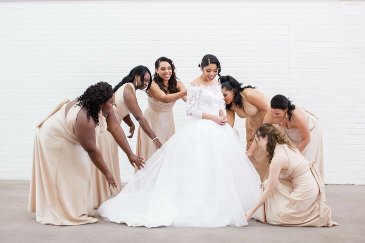 Tulle Ball Gown With Gold Wrap Bridesmaid Dresses