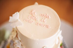 Pink Customization on Top of Wedding Cake