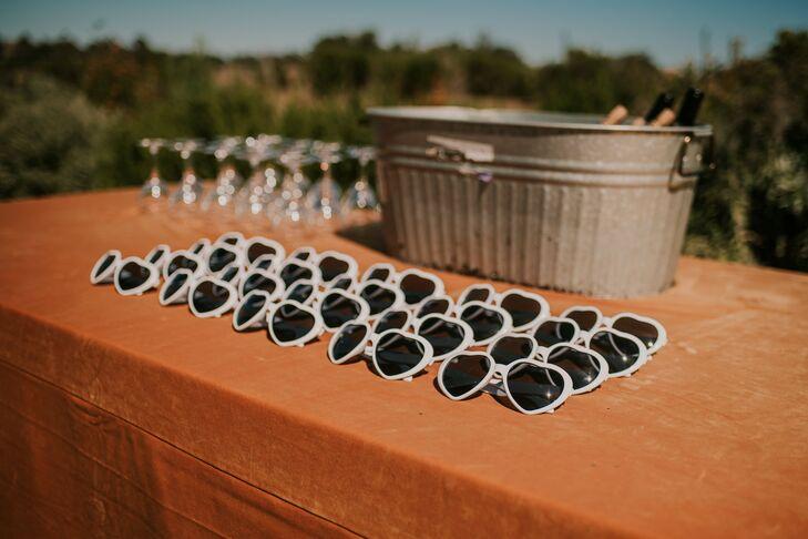 Sunglasses as Wedding Favors at Dos Pueblos Orchid Farm in Goleta, California