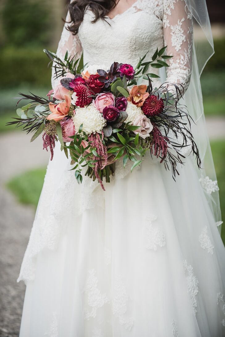 Bohemian Burgundy Dahlia and Amaranthus Bouquet