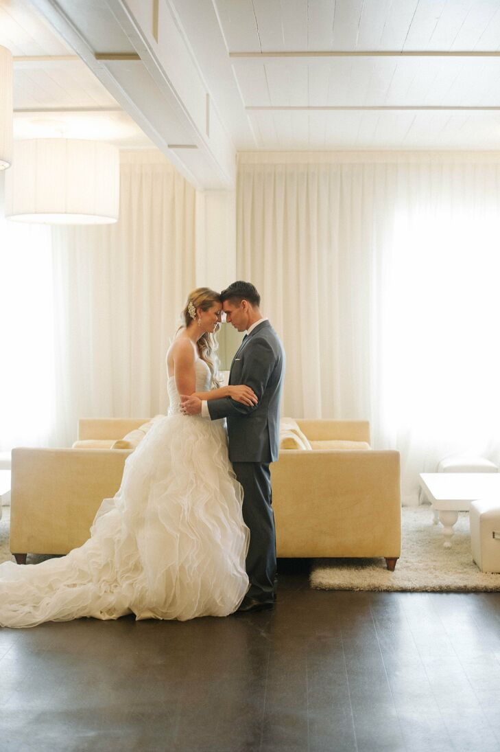 Dozens of tulle ruffles on Rose's Alfred Angelo ball gown added depth and texture to her bridal look.