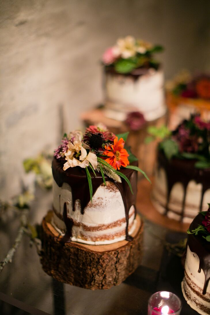 Miniature Naked Cakes with Wildflower Toppers